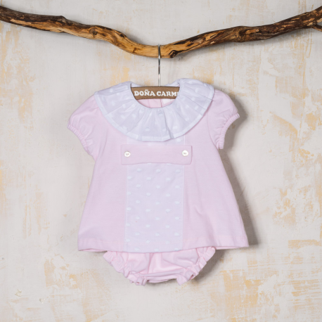 COTTON BABY DRESS WITH PANTIES MEJICO