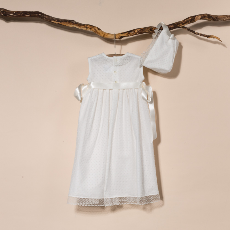 CHRISTENING GOWN TUL AND BONNET