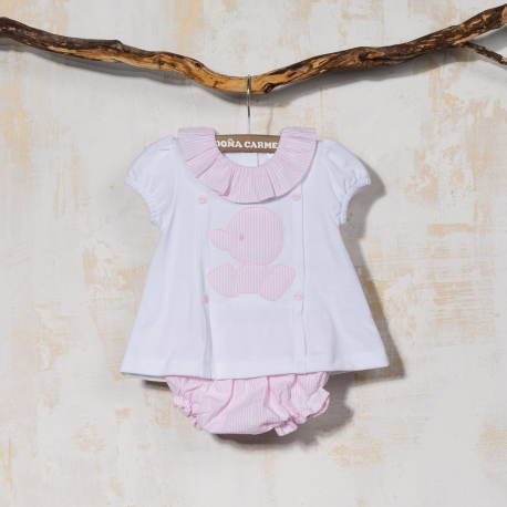 COTTON BABY DRESS WITH PANTIES CUA