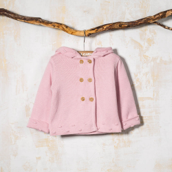 COTTON HOODED COAT LEO PINK
