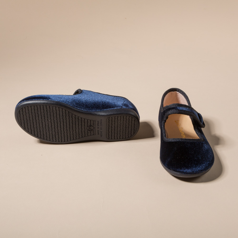 NAVY VELVET LITTLE MARY JANE SHOES