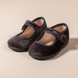 GRAY VELVET LITTLE MARY JANE SHOES