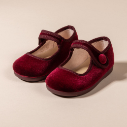 MAROON VELVET LITTLE MARY JANE SHOES