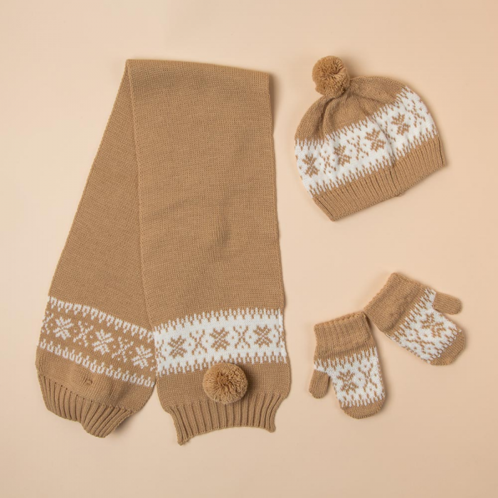 CAMEL BEANIE, SCARF AND MITTENS SET COMBA