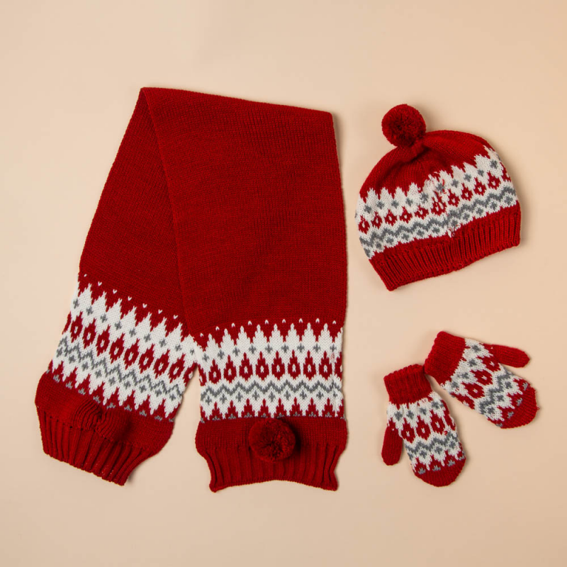 RED BEANIE, SCARF AND MITTENS SET CONDE