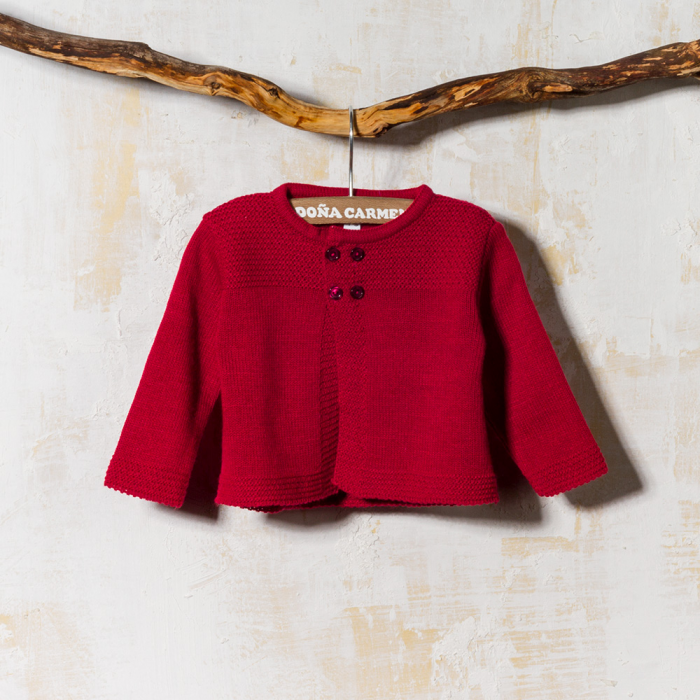 RED WOOLEN CARDIGAN CACTUS