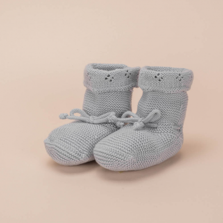 ICE BLUE KNITTED COTTON BOOTEES CORDON