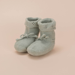 DUSTY GREEN KNITTED COTTON BOOTEES CORDON