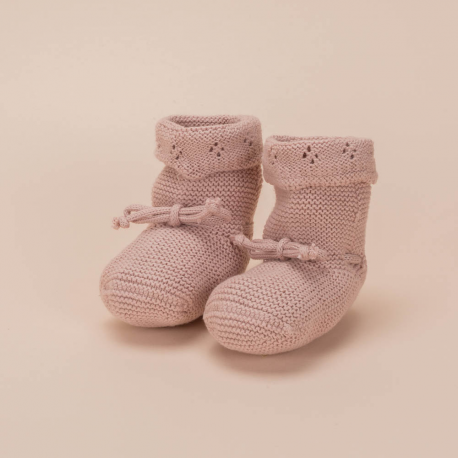 KNITTED COTTON BOOTEES CORDON MAKE UP