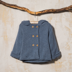 COTTON HOODED COAT LEO BLUE