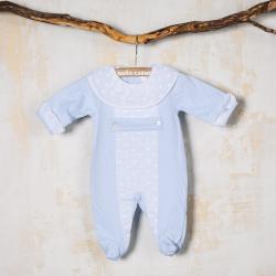 BLUE COTTON BABY SLEEPSUIT MEJICO