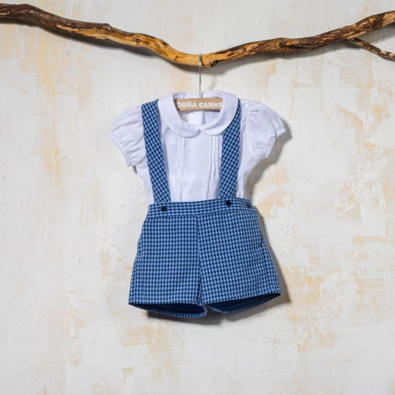 Pantalón con tirantes para niño en cuadrito vichy azul y camisa con ... 7ef63ac714e