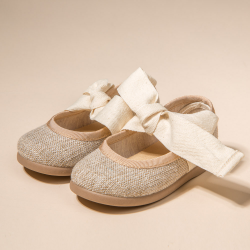 LITTLE ANGEL STYLE BALLET FLAT SHOES IN LINEN  FLORIDA