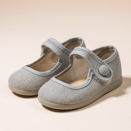 GRAY LINEN LITTLE MARY JANE SHOES WITH VELCRO STRAP