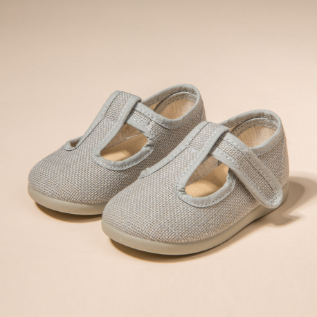 GRAY LINEN  T-STRAP SHOES WITH VELCRO STRAP