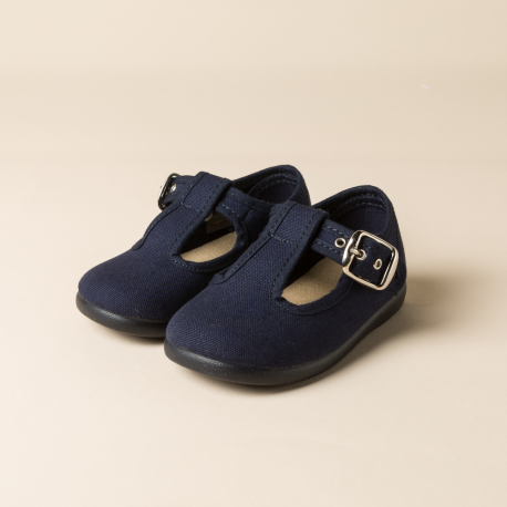 NAVY COTTON CANVAS PEPITOS OR T-STRAP SHOES