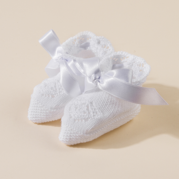 WHITE BABY KNITTED  BOOTEES MAYA