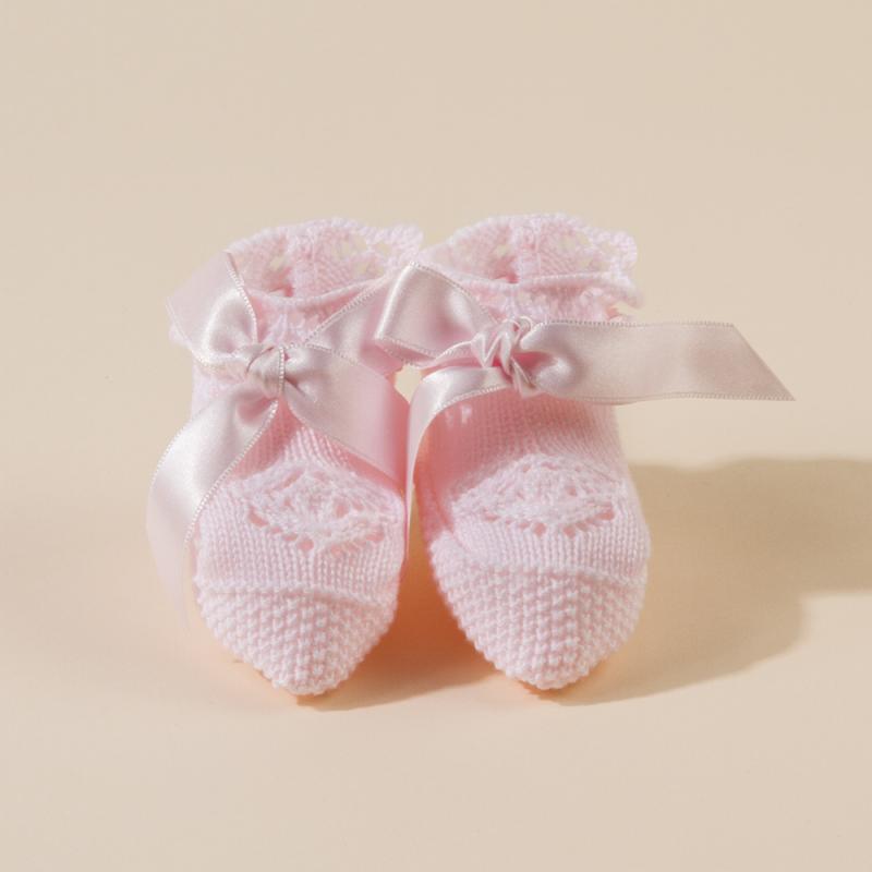 PINK BABY KNITTED  BOOTEES MAYA