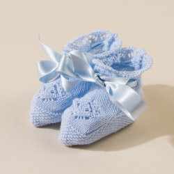 BLUE BABY KNITTED  BOOTEES MAYA