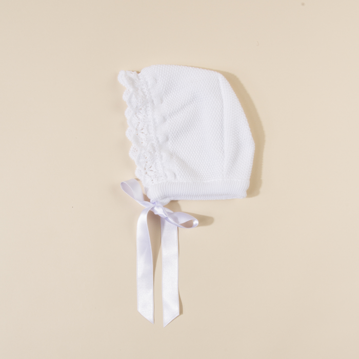 WHITE BABY KNITTED BONNET MAYA