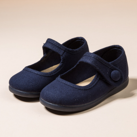 NAVY COTTON CANVAS MARY JANE SHOES OR T-STRAP
