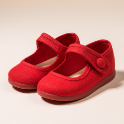 RED COTTON CANVAS MARY JANE SHOES OR T-STRAP