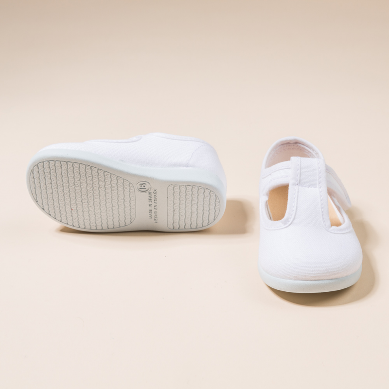 WHITE COTTON CANVAS PEPITOS OR T-STRAP WITH VELCRO STRAP