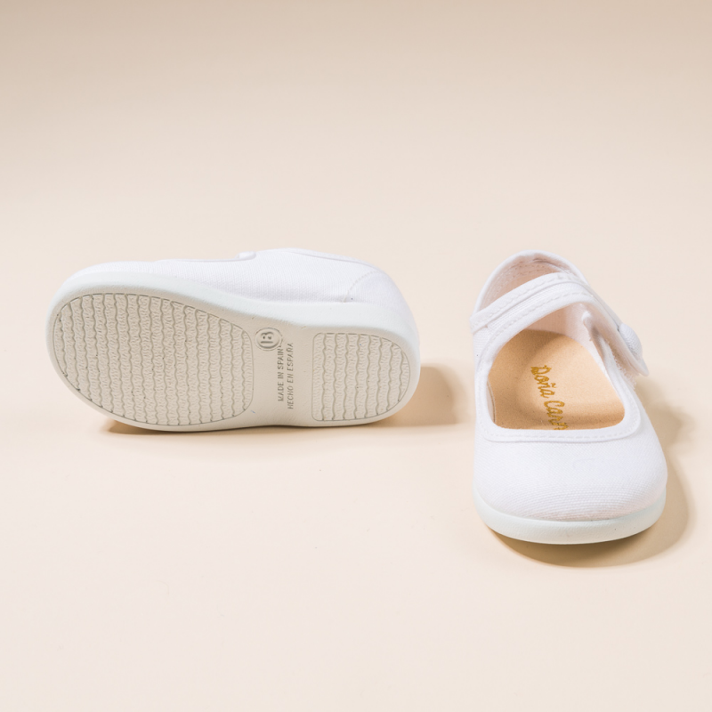 WHITE COTTON CANVAS MARY JANE SHOES OR T-STRAP