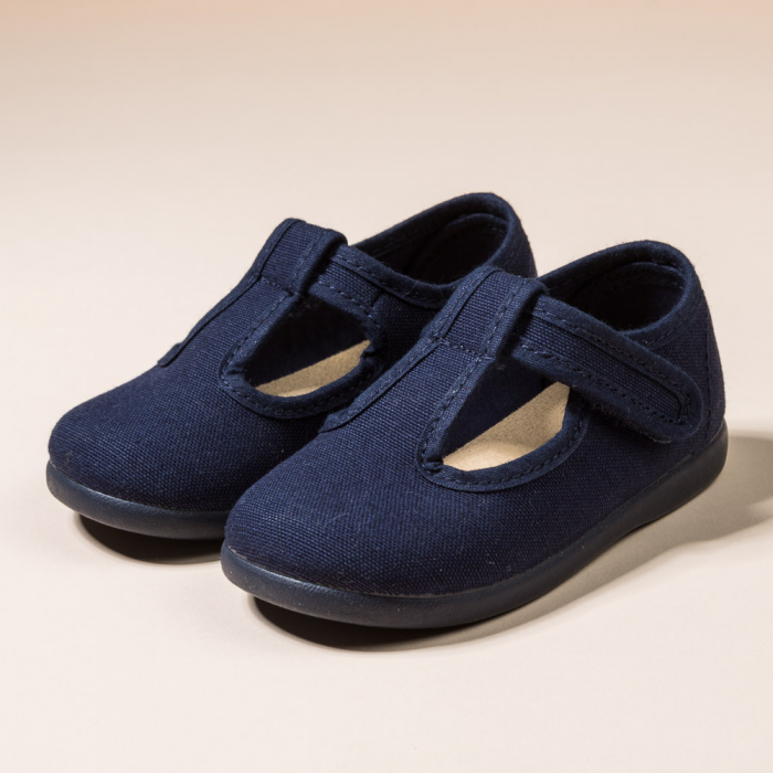 NAVY COTTON CANVAS PEPITOS OR T-STRAP WITH VELCRO STRAP