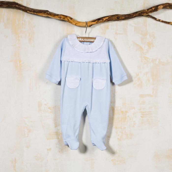 BLUE COTTON BABY SLEEPSUIT NOGAL