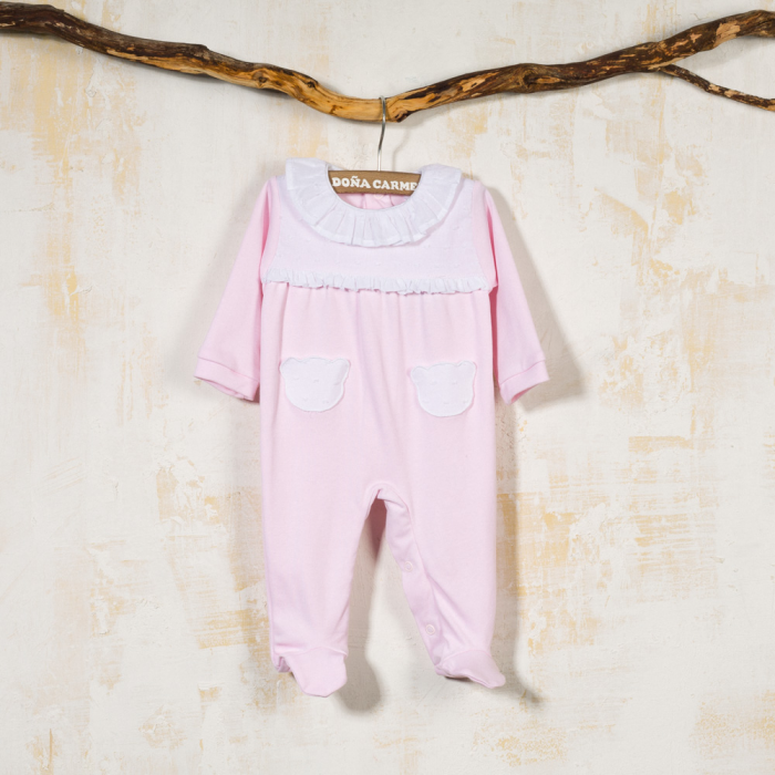 PINK COTTON BABY SLEEPSUIT NOGAL