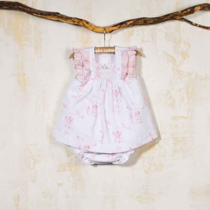 SMOCKED DRESS WITH PANTIES COMETA