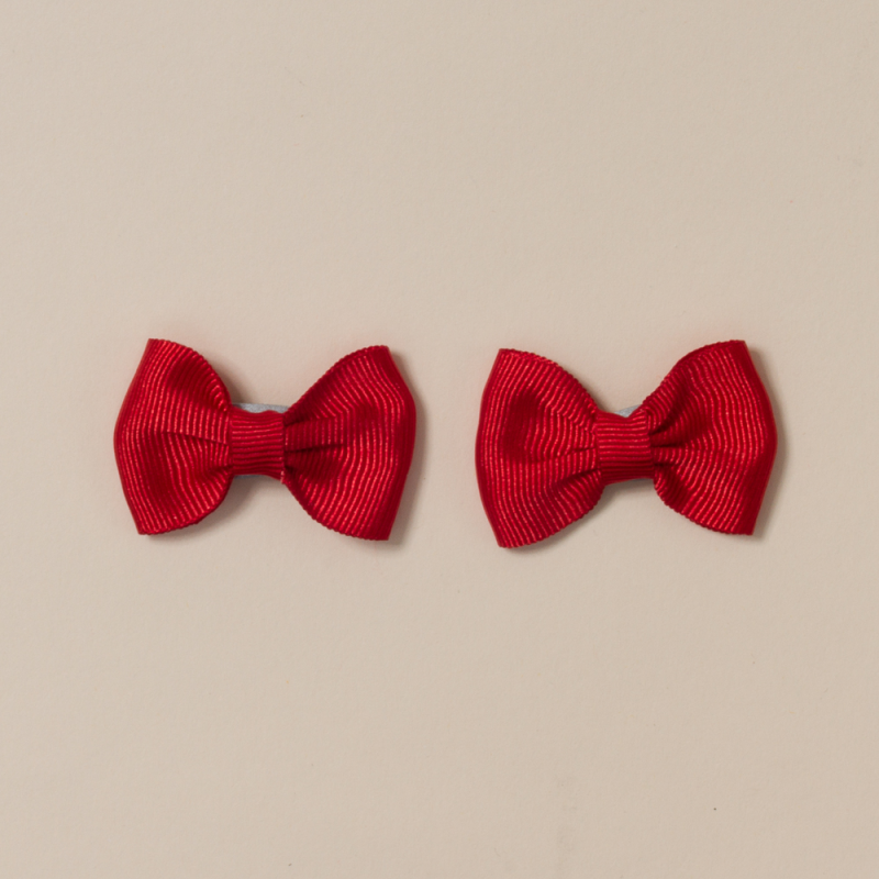 PACK 2 SMALL BOW HAIR CLIP GROS GRAIN