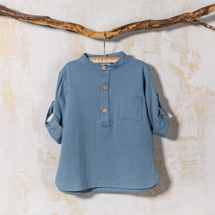COTTON POLO SHIRT WITH MAO COLLAR