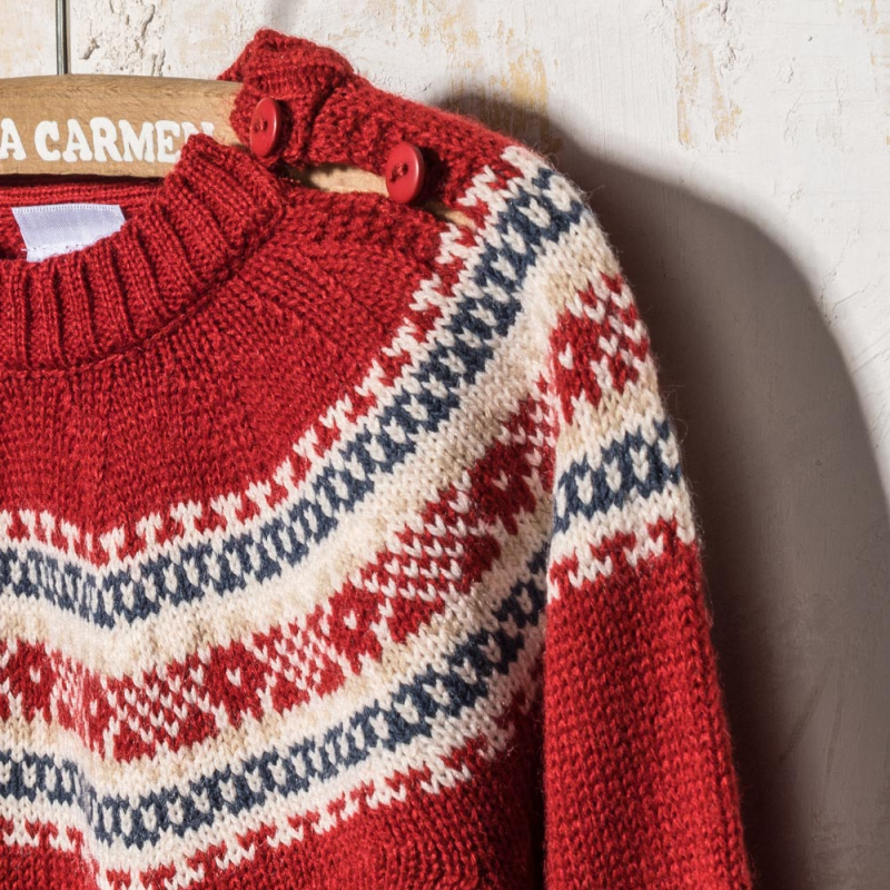 RED WOOLEN SWEATER SUECIA