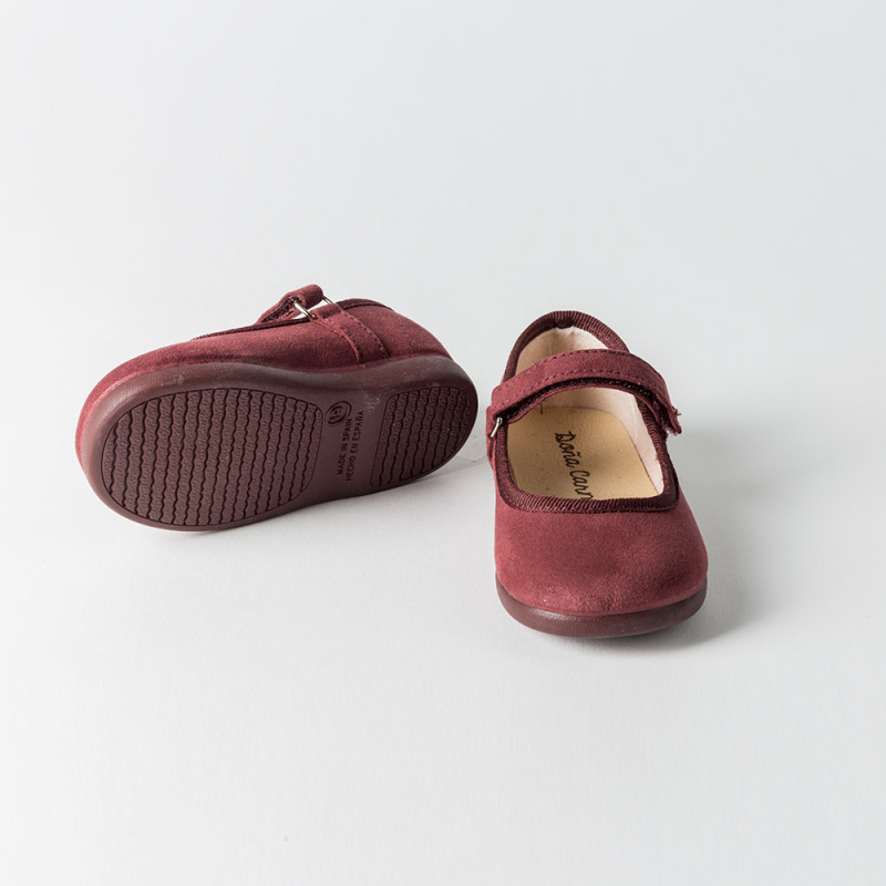 MAROON CANVAS LITTLE MARY JANE SHOES CISNE