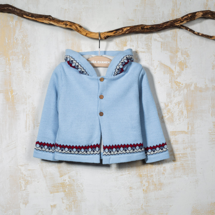KNITTED COAT BLEU