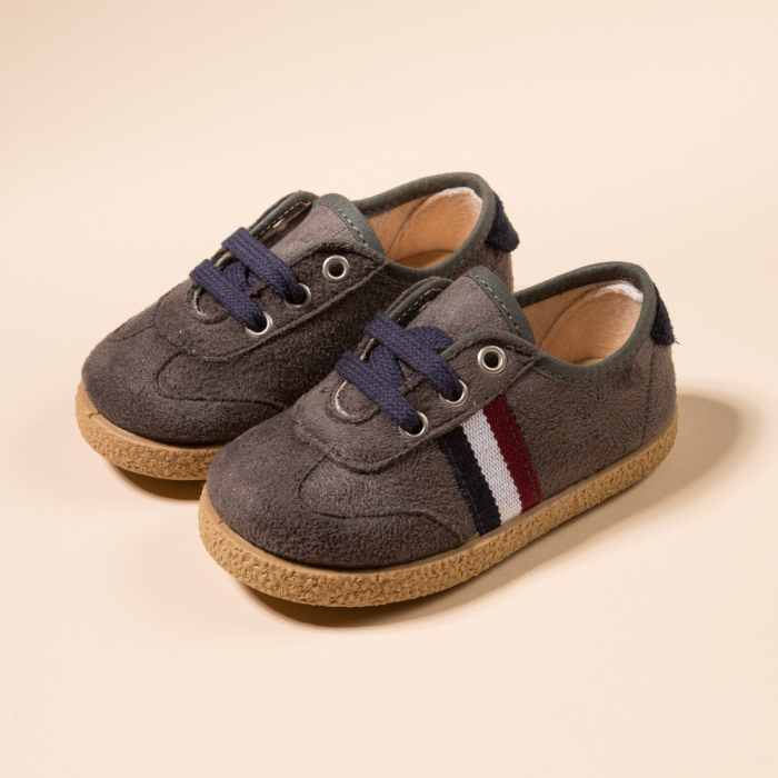 GRAY&NAVY COMBINED TENNIS SHOES WITH TIES CLOSURE