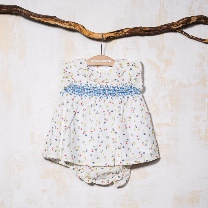 SMOCKED DRESS WITH KNICKERS FLOU
