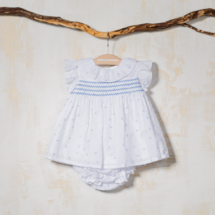 SMOCKED DRESS WITH KNICKERS SANDY