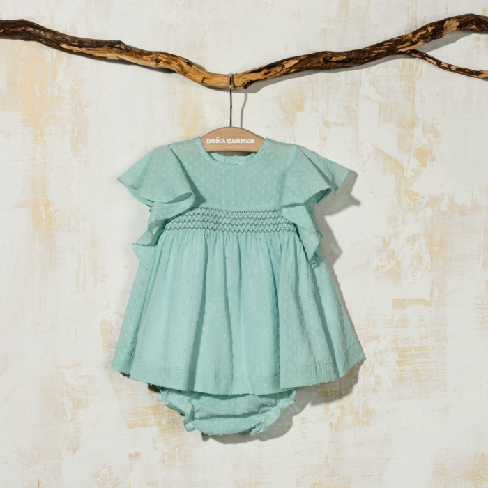 SMOCKED DRESS WITH KNICKERS PLUMETI