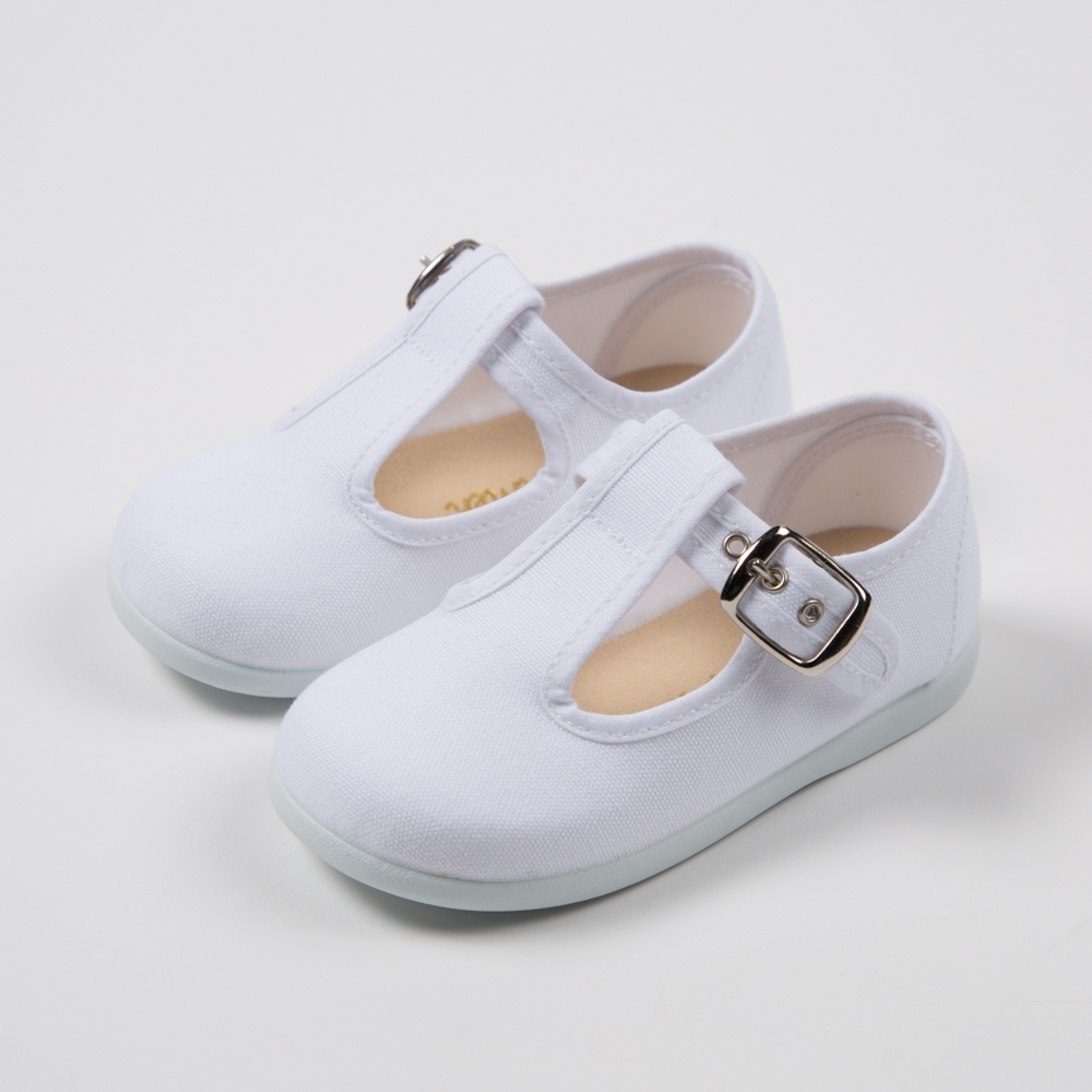 WHITE COTTON CANVAS PEPITOS...