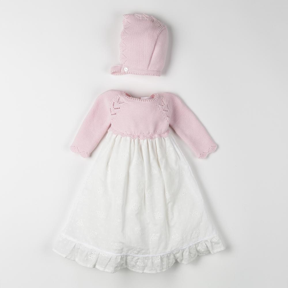 BABY DRESS WITH BONNET PERLA