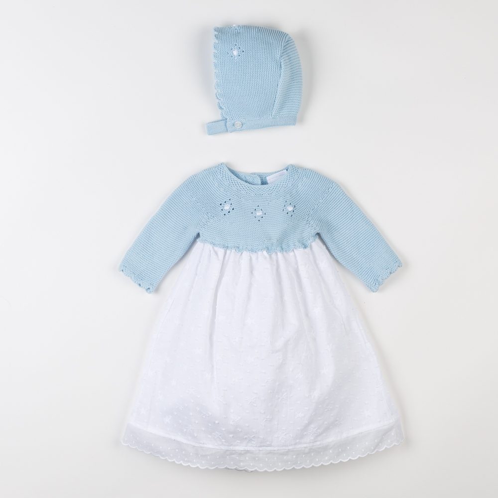 BLUE BABY DRESS WITH BONNET SASTRE