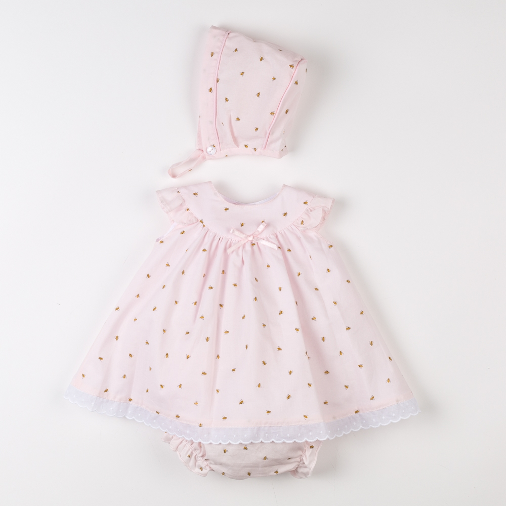 BABY DRESS WITH CULOTTE AND BONNET MIEL