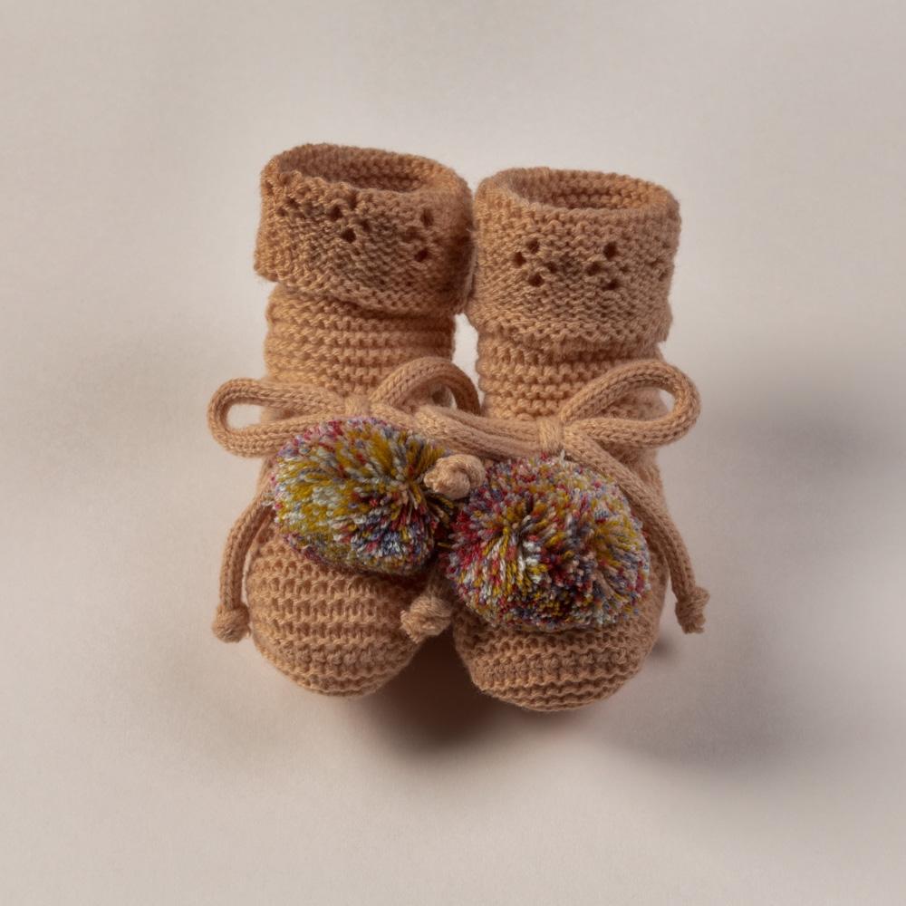 MULTI PINK WOOL BABY BOOTIES