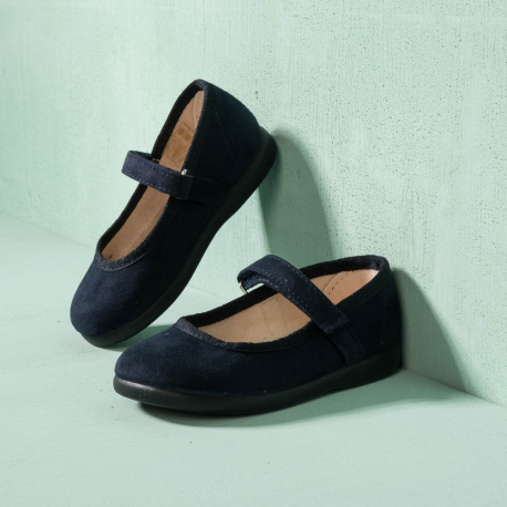 NAVY CANVAS LITTLE MARY JANE SHOES CISNE